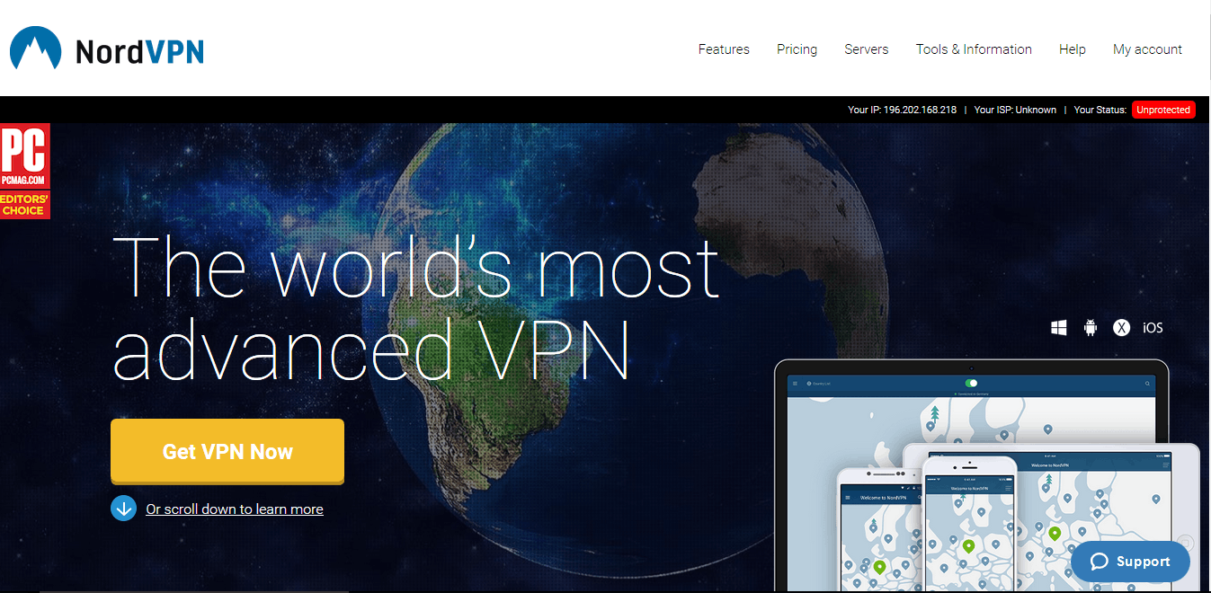 NordVPN website