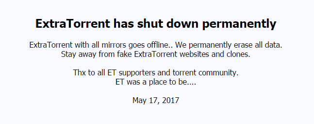 ExtratTorrent shutdown notice