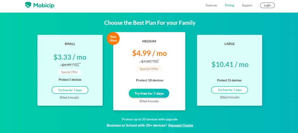 Mobicip pricing plans